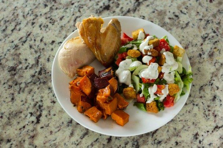 chicken, sweet potatoes, salad